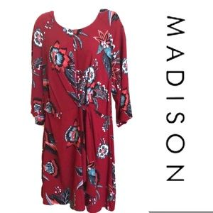 Red Dress MADISON Faux Tie Front NWT